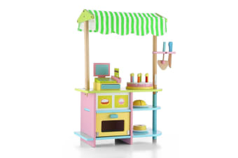 Kids Wooden Bakery Stand Counter Children Pretend Play Cake Toy Shop with Awning