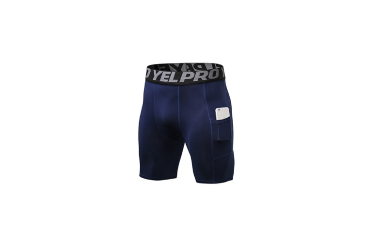 Men'S Compression Shorts Baselayer Cool Dry Sports Tights With Pocket - Navy Blue M