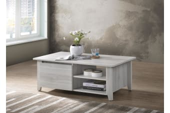 Modern Coffee Table w/ 2 Shelves Open Drawer - White Oak