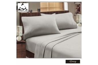 Flannelette Egyptian Cotton Sheet Set Grey KING SINGLE