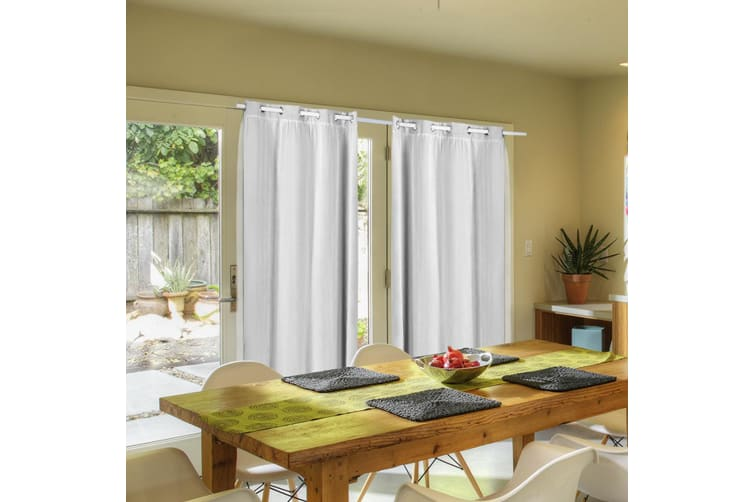 2X Blockout Curtains Panels Blackout 3 Layers Room Darkening Pure With Gauze NEW  -  Winter White240X213cm (WxH)