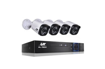UL-TECH 1080P Four Channel Security System with 4 Cameras (Black/White)
