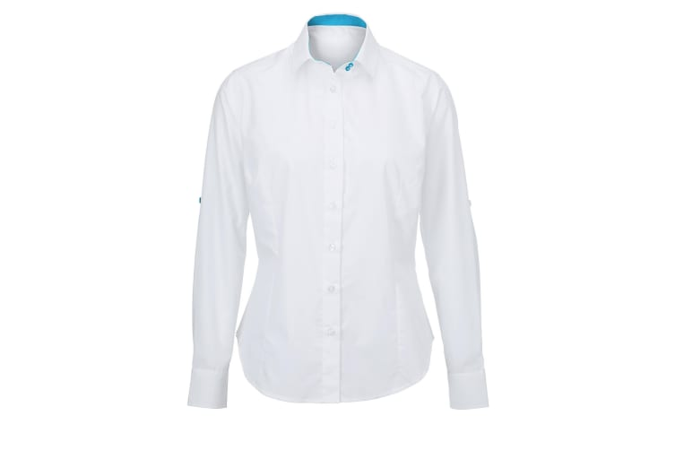 Alexandra Womens/Ladies Roll Sleeve Hospitality Work Long Sleeve Shirt (White/ Peacock) (S)