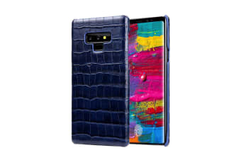 For Samsung Galaxy Note 9 Case Crocodile Genuine Leather Mobile Phone Cover Blue
