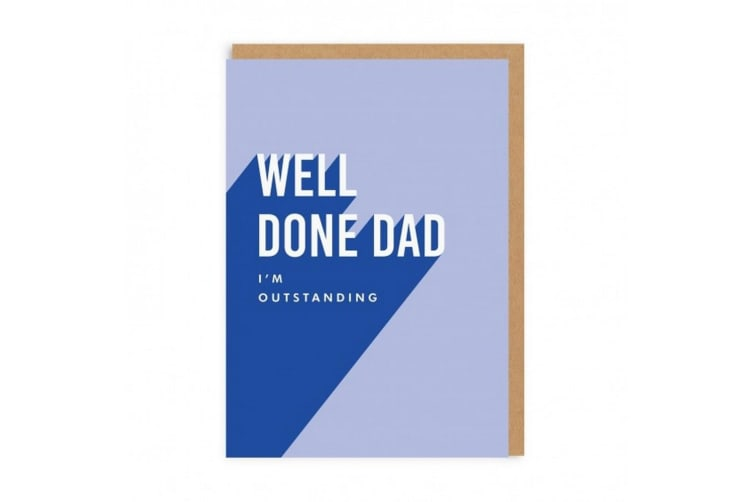 Ohh Deer Well Done Dad Greeting Card (Blue) (One Size)