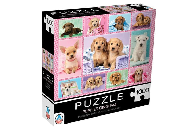 2x 1000pc Arrow Puzzles Puppies Gingham 60.9cm Jigsaw Puzzle f/ Teens/Adult 15y+