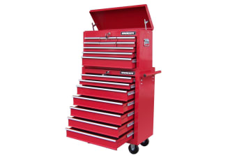 Shogun Mechanic Tool Box on Trolley with 16 Drawers, Side Handles and 4 Castors - Red