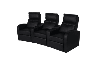 vidaXL Recliner 3-seat Artificial Leather Black