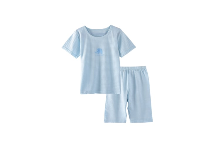 2Pcs Boys Girls Soft Cotton Short Sleeved Home Suit - 15 Blue 90Cm
