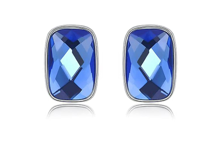 Emerald-Cut Bezel Stud Earrings Embellished with Swarovski crystals