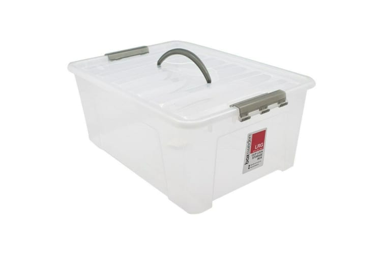 20L Plastic Storage Box with Lid and Handle Container Tub Bin 45.5x32x18cm Home