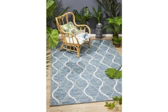 Wyatt Blue & Natural Coastal Geometric Runner Rug 400x80cm