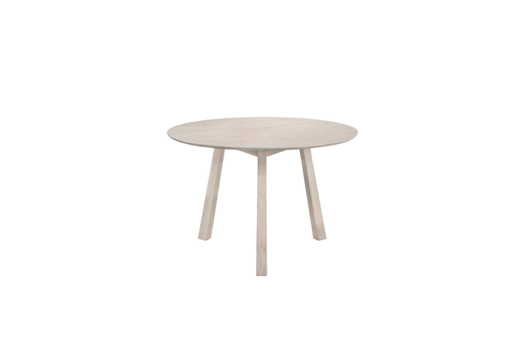 6 Seater Designer Round Dining Table Solid Rubberwood White Washed