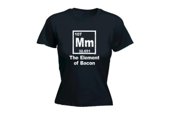 123T Funny Tee - The Element Of Bacon - (Small Black Womens T Shirt)