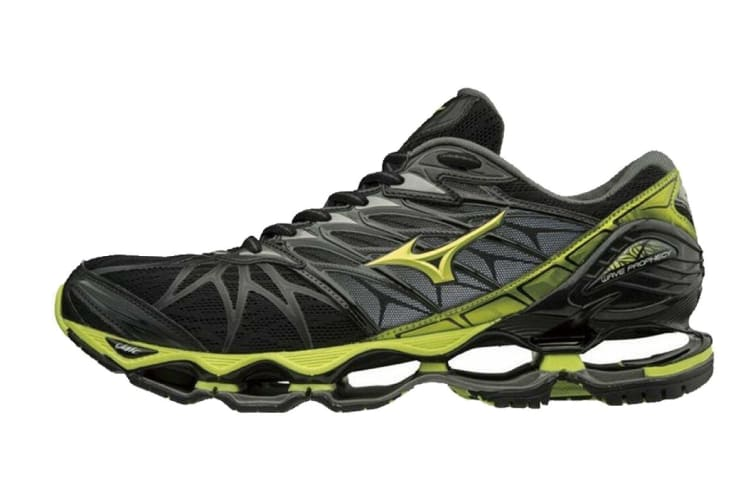Mizuno Men's WAVE PROPHECY 7 Running Shoe (Black/Lime Punch/Oark Shadow, Size 8 US)