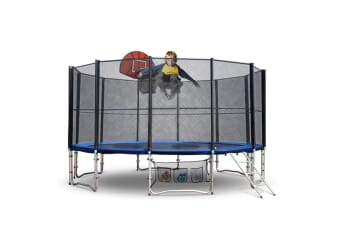 Up-Shot 12ft Round Trampoline FREE Basketball Set Safety Net Spring Pad Cover Ladder
