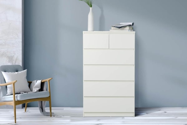 Ovela 6 Drawer Tallboy - Maribo Collection (White)