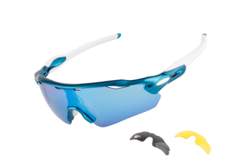 Sports Sunglasses Anti-Ultraviolet Replaceable Bike Glasses 3-Piece Suit - 2 Blue 3Pcs