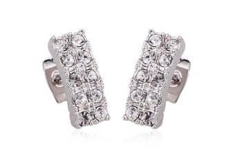 Glitz And Glam Stud Earrings w/Swarovski Crystals-White Gold/Clear
