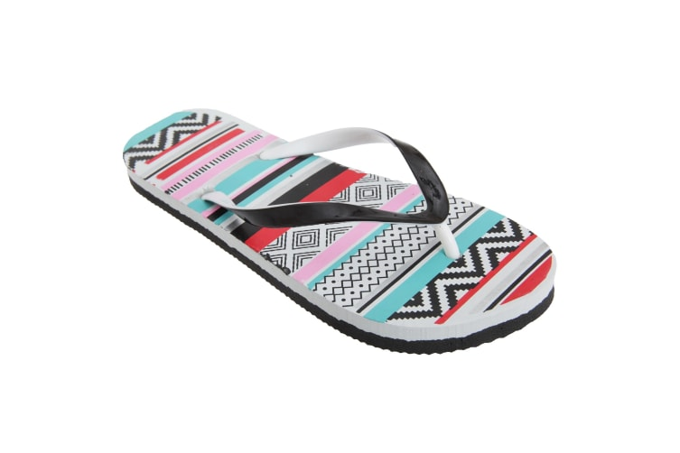 FLOSO Womens/Ladies Aztec Pattern Toe Post Flip Flops (Red/Blue/Pink) (3/4 UK)