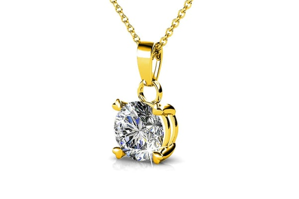 Solitaire Pendant Necklace w/Swarovski Crystals-Gold/Clear