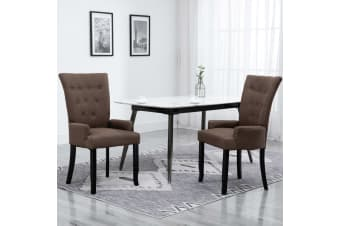 vidaXL Dining Chair with Armrests 2 pcs Brown Fabric