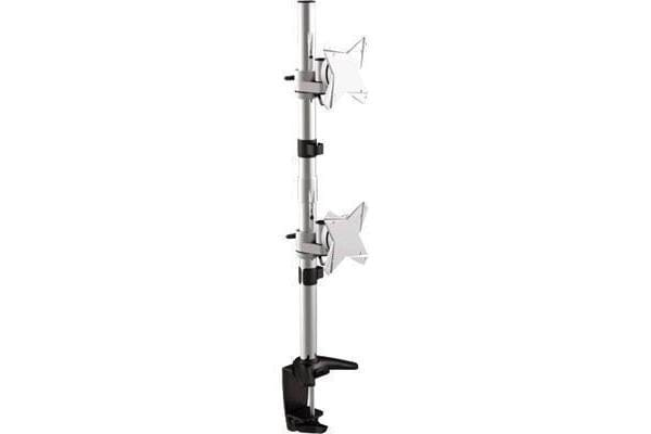 "BRATECK 13-27"" Dual LCD Desk Mount Max arm reach: 858mm. Tilt:-+15deg Swivel 360deg. Max Load 8kg"