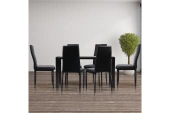 Artiss Astra  7-Piece Dining Table and Chairs Dining Set Glass Leather Seater BK