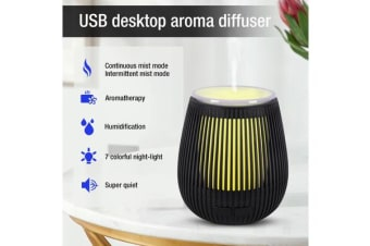100Ml Humidifier Aromatherapy Diffuser Usb Powered 7 Colour Led - Black