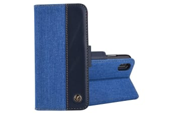 For iPhone XS Max Case Denim Genuine Leather Wallet Card Slot Cover Blue  Black