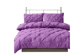 DreamZ Diamond Pintuck Duvet Cover Pillow Case Set in Queen Size in Plum  -  PlumQueen