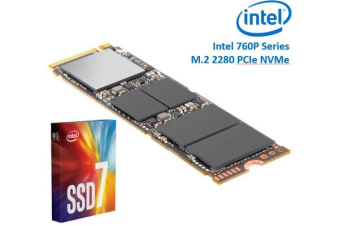 Intel 760P Series M.2 80mm 512GB SSD 3D2 TLC PCIe NVMe 3230/1625MB/s 340K/275K IOPS 1.6 Million Hours MTBF Solid State Drive 5yrs Wty ~HBI-600P-512GB