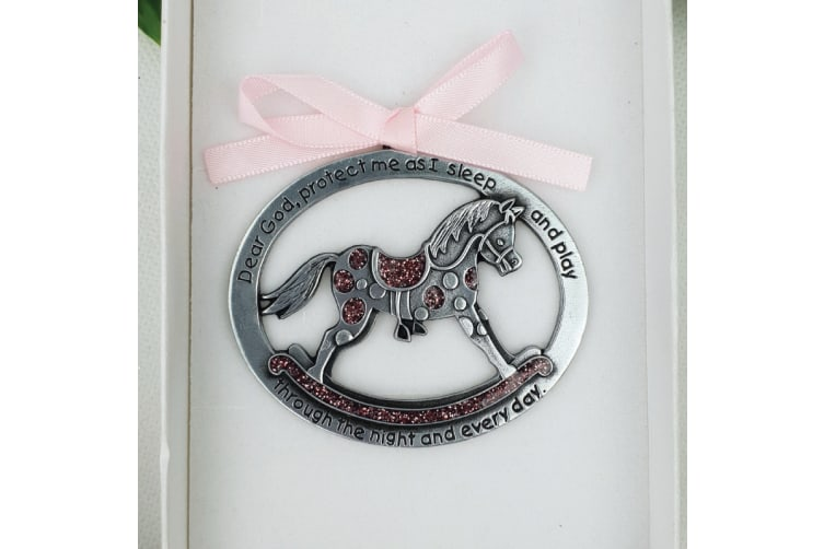 Baby Girl Crib Protection Rocking Horse Plaque