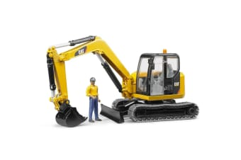Bruder 1:16 CAT Caterpillar Excavator Digger Tractor w/Worker/Builder Kids Toy