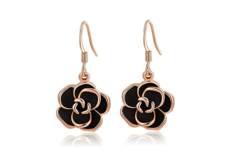 Women's 18K Gold Plated Black Rose Dangle Earrings G00198