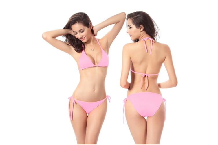 Beach Swimsuit Bikini Hoilday Summer Candy Color Swimwear For Women Pink S