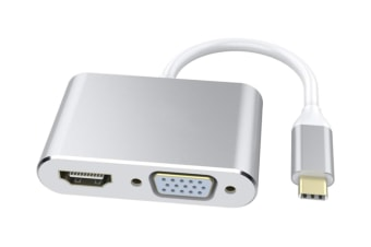 Select Mall 2 in 1 USB 3.1 TYPE-C To HDMI VGA HD Cable Apple Notebook Macbook Air 12-inch USB3.1 To HDMI VGA Adapter Cable-Silver
