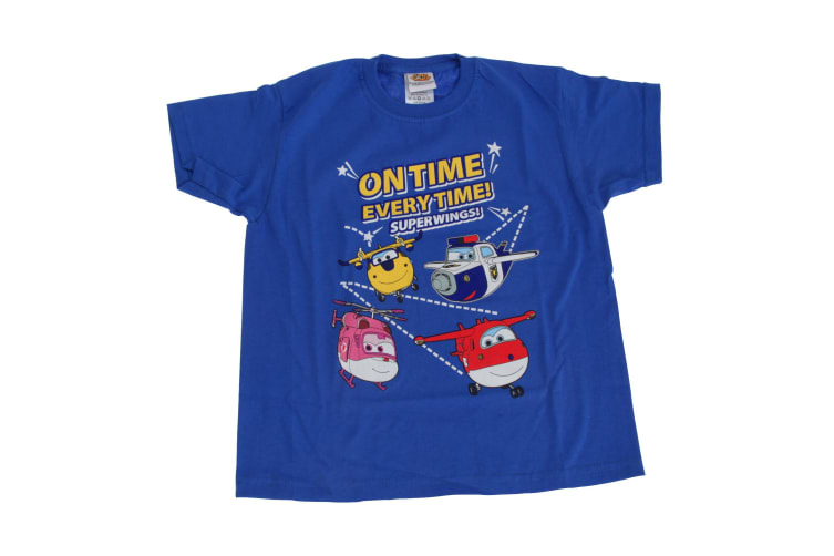 Super Wings Toddler Boys On Time Every Time T-Shirt (Blue) (5-6 Years)