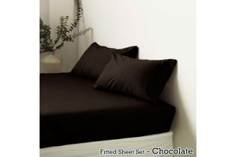 Polyester Cotton Fitted Sheet Set Chocolate King by Apartmento