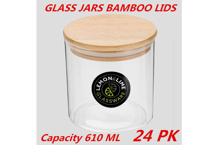 24 x Glass Jar Food Storage Bottles Sealed Cans Bamboo Lid Air Tight Container 610ml