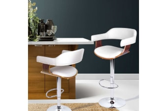 Artiss Wooden Bar Stools SELINA Kitchen Swivel Bar Stool Chairs Leather White