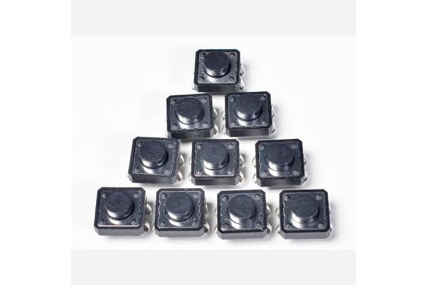 Tactile Switch Buttons (12mm square, 6mm tall) x 10 pack
