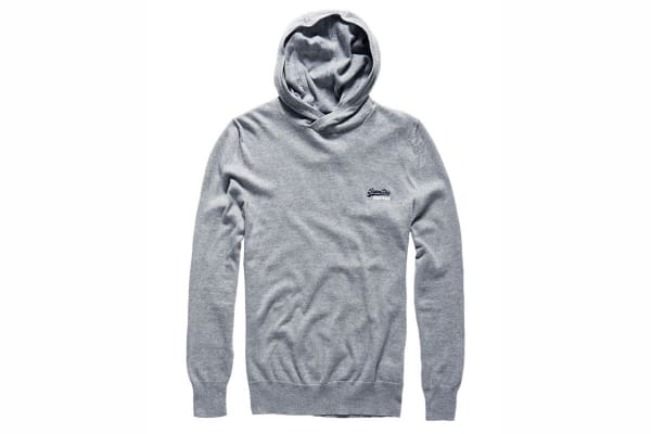 Superdry Men's Orange Label Knit Hoodie (Grey Marl, 2 X-Large)