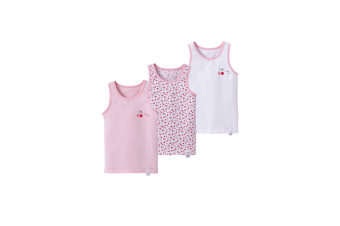 3Pcs Baby Toddler Boys GirlsCotton Tops Tanks - 10 Pink 130Cm