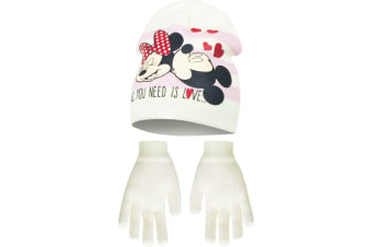 Disney Minnie Mouse Childrens Girls All You Need Is Love Winter Hat And Gloves Set (Cream)