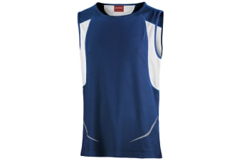 Spiro Mens Sports Athletic Vest Top (Navy/White) (2XL)