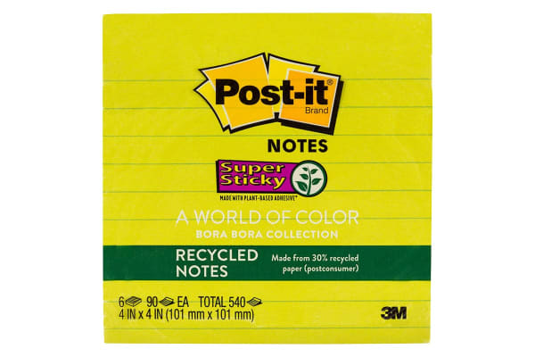 Post-it Recycled Super Sticky Notes Bora Bora Collection (101mm x 101mm, 6 Pack)