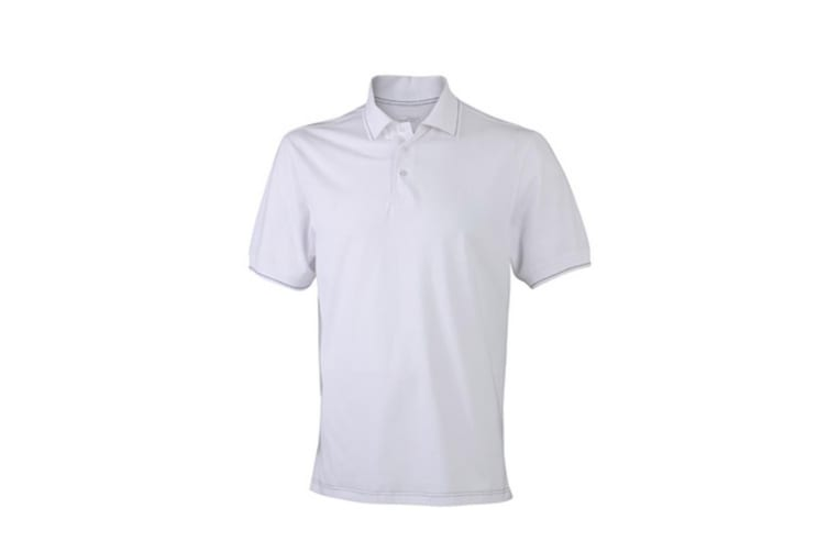 James and Nicholson Mens Elastic Polo (White/Black) (XL)