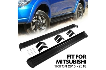 BUNKER-INDUST Running Boards Side Steps for Mitsubishi Triton 2015 - On Dual Cab Matt Black