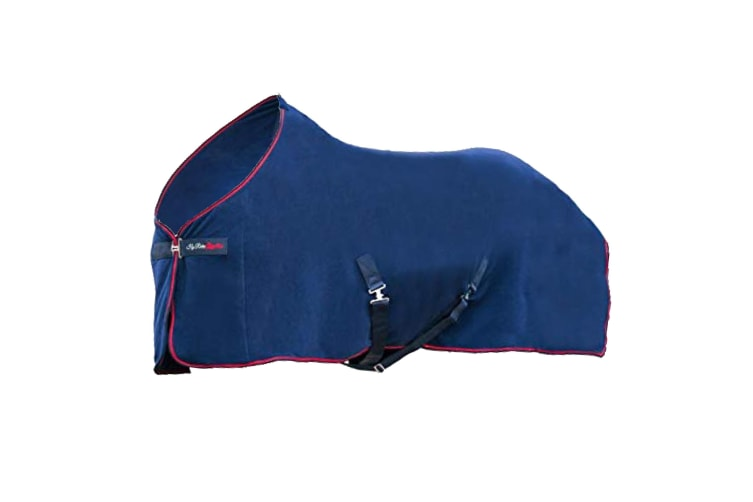 Hy Signature Fleece Rug (Navy/Red) (5 ft)